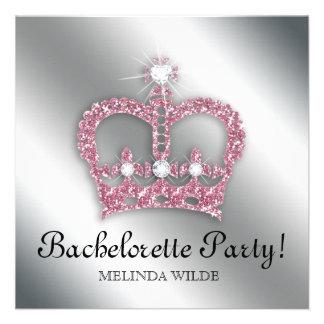 Bachelorette Party Pink Princess Crown Tiara Silve Personalized Announcement