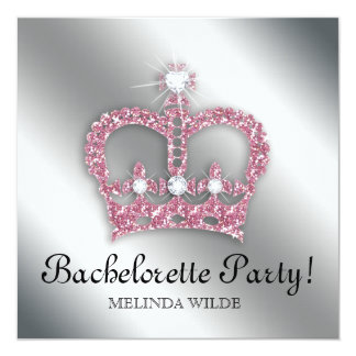 "Bachelorette Party Pink Princess Crown Tiara Silve 5.25"" Square Invitation Card"