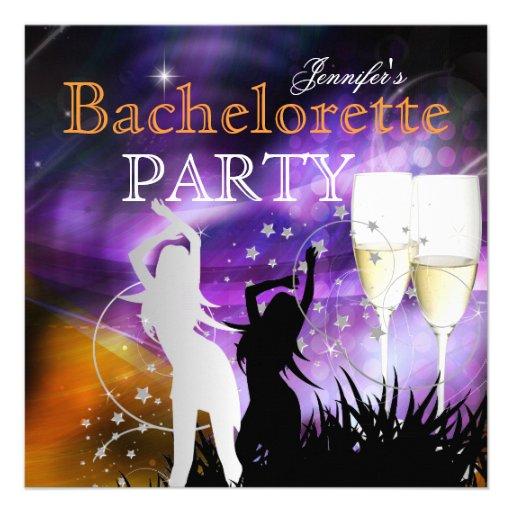 Bachelorette Party Purple Champagne Dance Custom Announcements