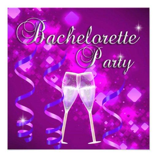 Bachelorette Party Purple Champagne Glass Black Invitations
