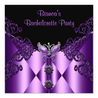 Bachelorette Party Purple Lilac Butterfly Jewel Custom Announcement