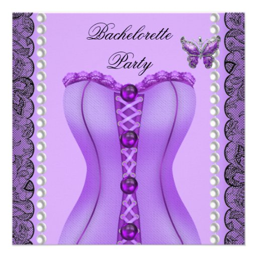 Bachelorette Party Purple Lilac Corset Butterfly Personalized Invitation