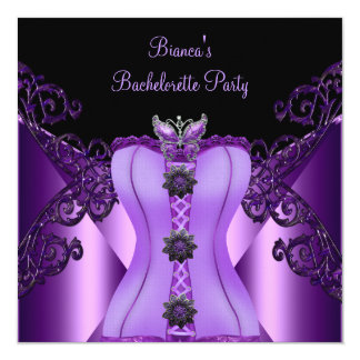 "Bachelorette Party Purple Lilac Corset Butterfly 5.25"" Square Invitation Card"