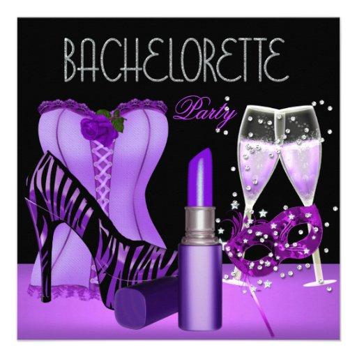 Bachelorette Party Purple Mask Lipstick Corset Custom Invitation