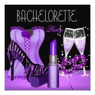 Bachelorette Party Purple Mask Lipstick Corset 13 Cm X 13 Cm Square Invitation Card
