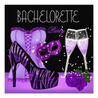 Bachelorette Party Purple Mask Shoes Corset Custom Invite