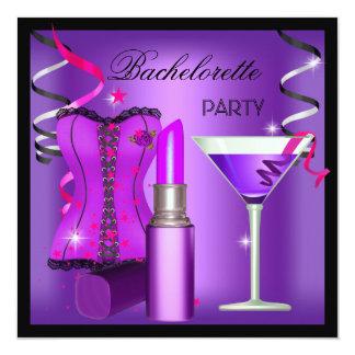 Bachelorette Party Purple Pink Lipstick Corset Card