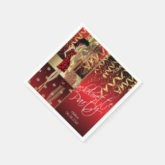 Bachelorette Party  - Red and Gold Disposable Serviette