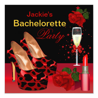 Bachelorette Party Red Black Shoes Lipstick Card