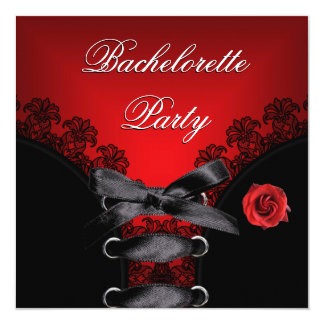 Bachelorette Party Red Rose Black Lace Card