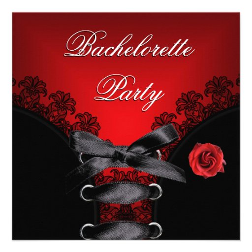 Bachelorette Party Red Rose Black Lace Announcement