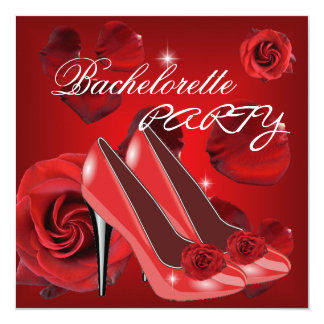 "Bachelorette Party Red Roses Hi Heel Shoe 5.25"" Square Invitation Card"