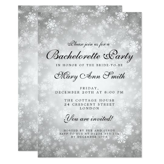 Bachelorette Party Silver Winter Wonderland Card