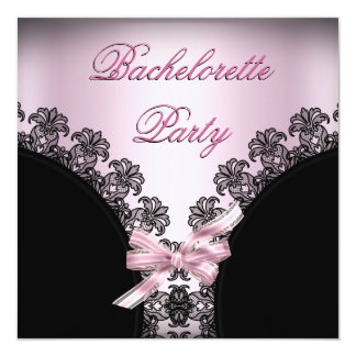 Bachelorette Party Soft Pink Black Lace 13 Cm X 13 Cm Square Invitation Card