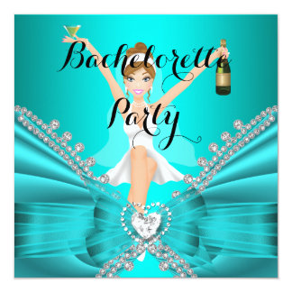 Bachelorette Party Teal Blue Diamond Lace fun 13 Cm X 13 Cm Square Invitation Card