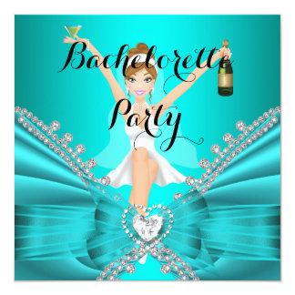 Bachelorette Party Teal Blue Diamond Lace fun 13 Cm X 13 Cm Square Invitation Card