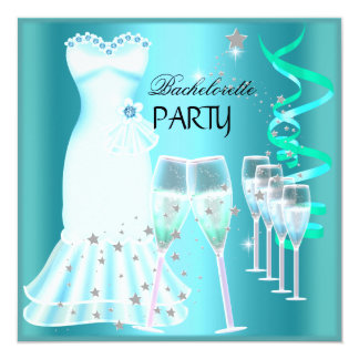 Bachelorette Party Teal Blue Dress Champagne 13 Cm X 13 Cm Square Invitation Card