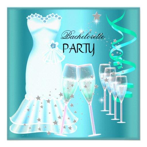 Bachelorette Party Teal Blue Dress Champagne Custom Invite