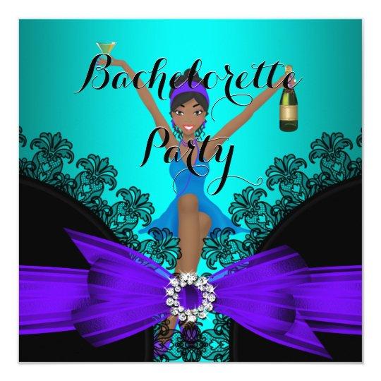 Bachelorette Party Teal Purple Black Lace fun Card