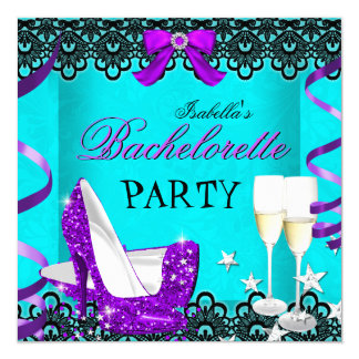 Bachelorette Party Teal Purple High Heel Champagne 13 Cm X 13 Cm Square Invitation Card