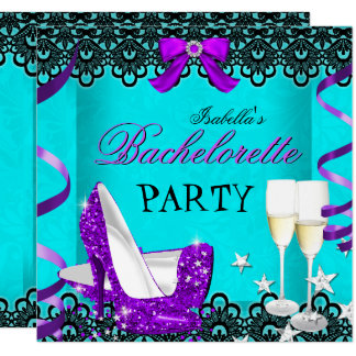 Bachelorette Party Teal Purple High Heel Champagne Card
