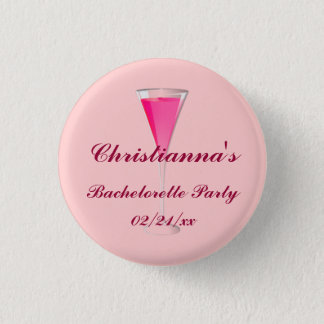 """Bachelorette Party"" - w/ Champagne Flute 3 Cm Round Badge"