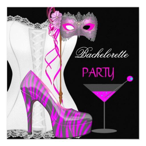 Bachelorette Party White Corset Pink Zebra Shoes Invite