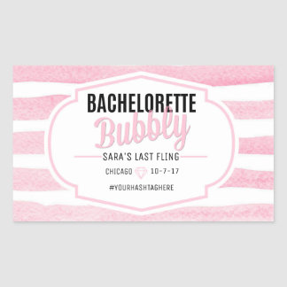 Bachelorette | Pink Stripes | Champagne Label