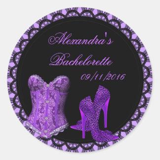 Bachelorette Purple Black Lace Corset Shoes Round Sticker