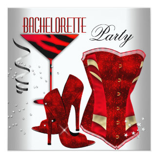 "Bachelorette White Corset Red High Heel Shoes 5.25"" Square Invitation Card"