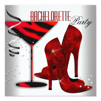 "Bachelorette White Red High Heel Shoes 5.25"" Square Invitation Card"