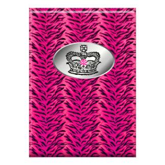 Bachelorette Zebra Jewelry Crown Party Invite Pink