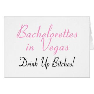 Bachelorettes In Vegas (Pink Black) Greeting Card