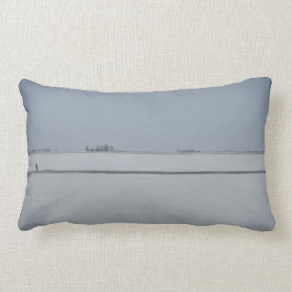 Back and White  Fog and Snow on the Prairies Lumbar Cushion