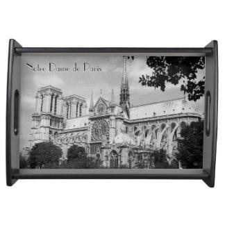 Back and White Notre Dame de Paris Serving Platter