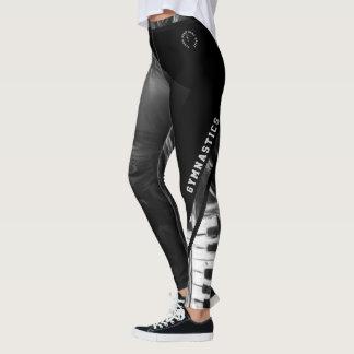 back and white print gymnastics leggings