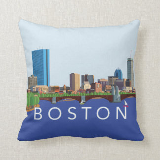 Back Bay Boston Skyline Computer Illustration Cushion