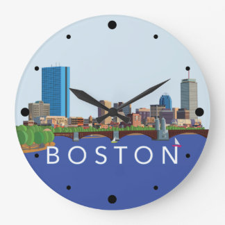 Back Bay Boston Skyline Computer Illustration Large Clock