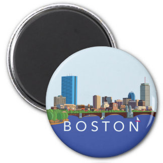 Back Bay Boston Skyline Computer Illustration Magnet