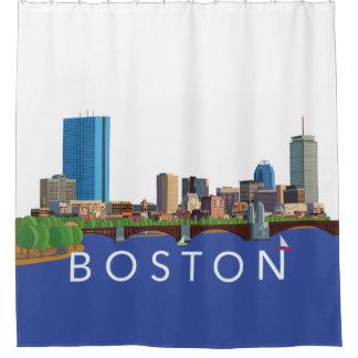 Back Bay Boston Skyline Computer Illustration Shower Curtain