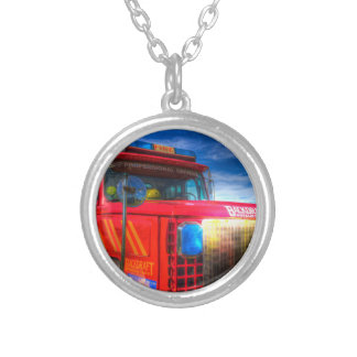 Back Draft Fire Truck Silver Plated Necklace