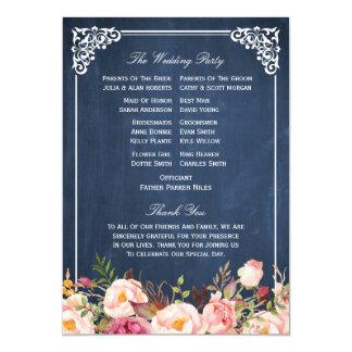 (Back) Floral Chalkboard DIY Wedding Program Fan