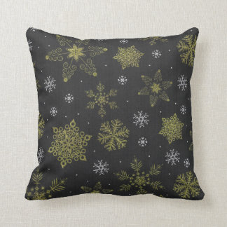 Back Gold Winter Snowflake Snow Throw Pillow