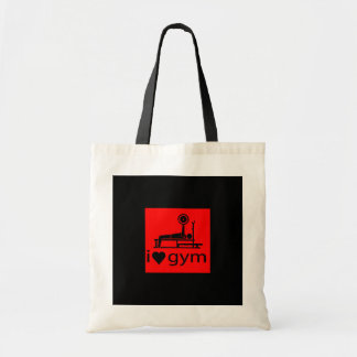 BACK IN BLACK RED I LOVE THE GYM WORKOUT WEIGHTLIF TOTE BAGS