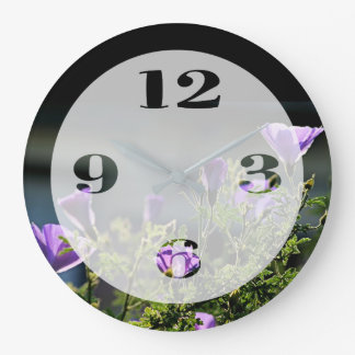 Back Lit Purple Flowers Large Clock