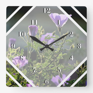 Back Lit Purple Flowers Square Wall Clock