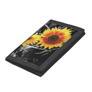 Back-lit Sunflower in Black and White Tri-fold Wallet