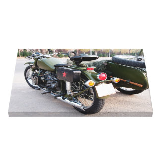Back of a 750B-2 motorcycle with a sidecar canvas Gallery Wrapped Canvas
