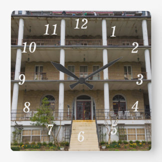 Back Of Crescent Hotel Square Wall Clock
