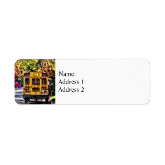 Back of School Bus Return Address Label
